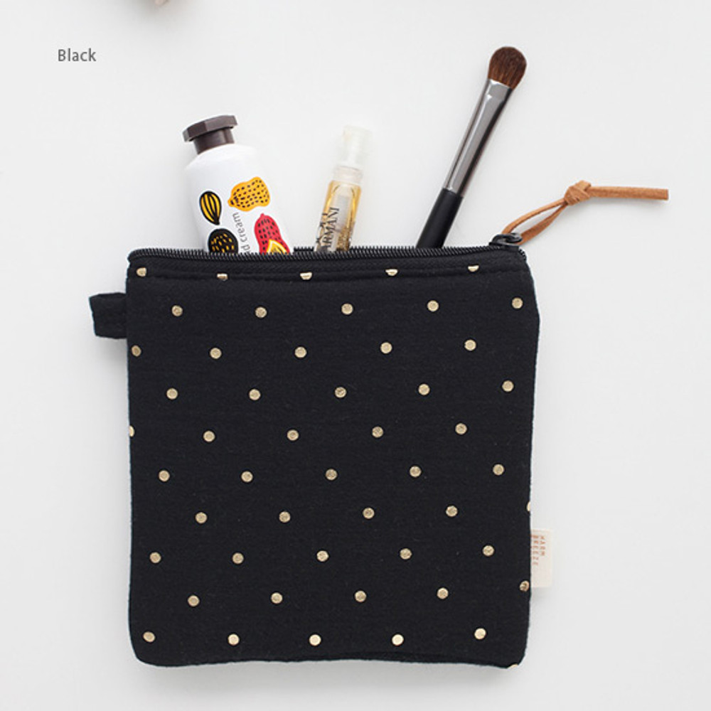Black - Warm breeze blows square zipper pouch