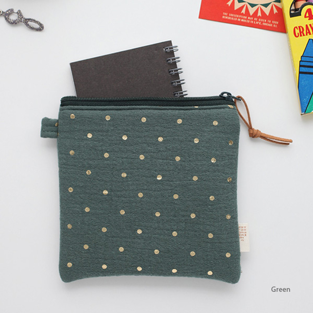 Green - Warm breeze blows square zipper pouch