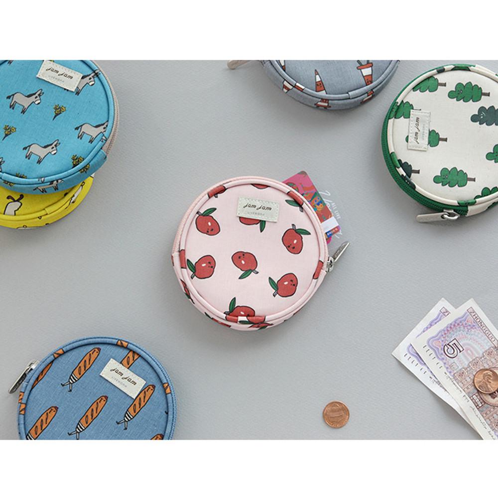 Jam Jam pattern circle zipper pouch
