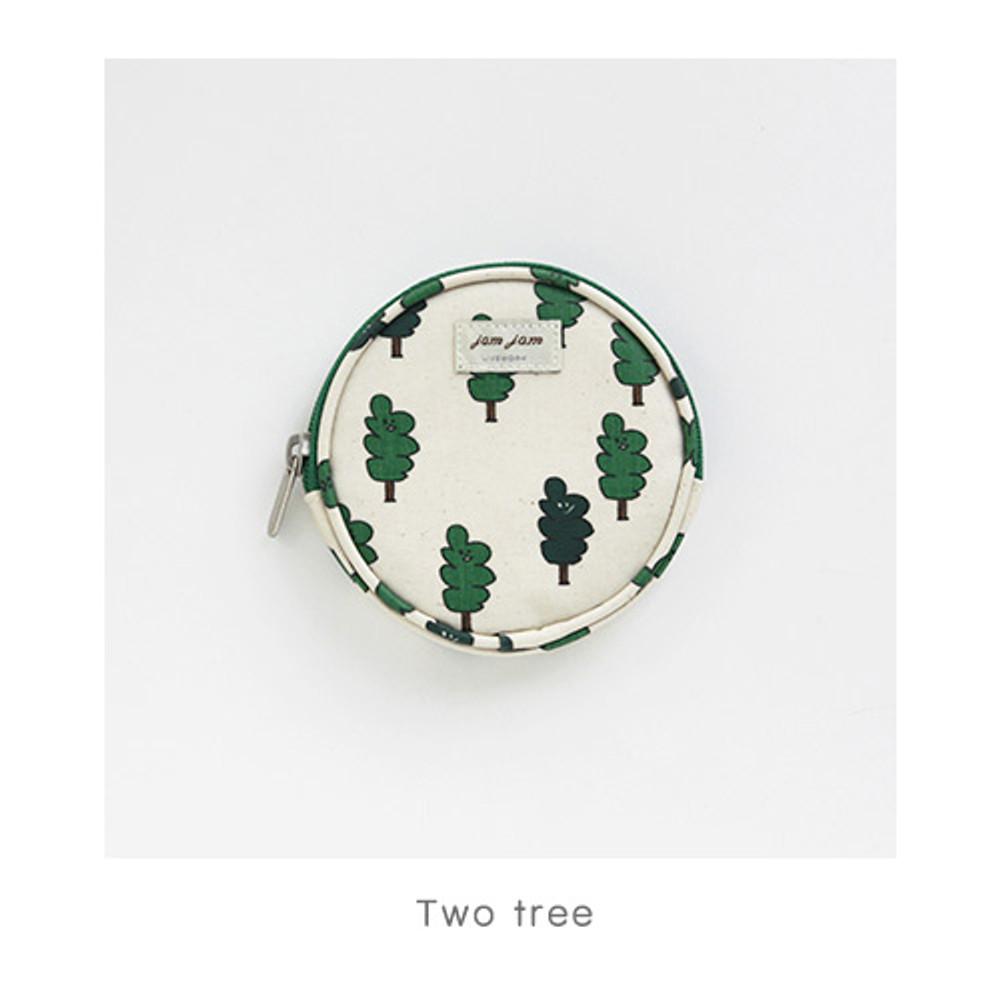 Two tree - Jam Jam pattern circle zipper pouch