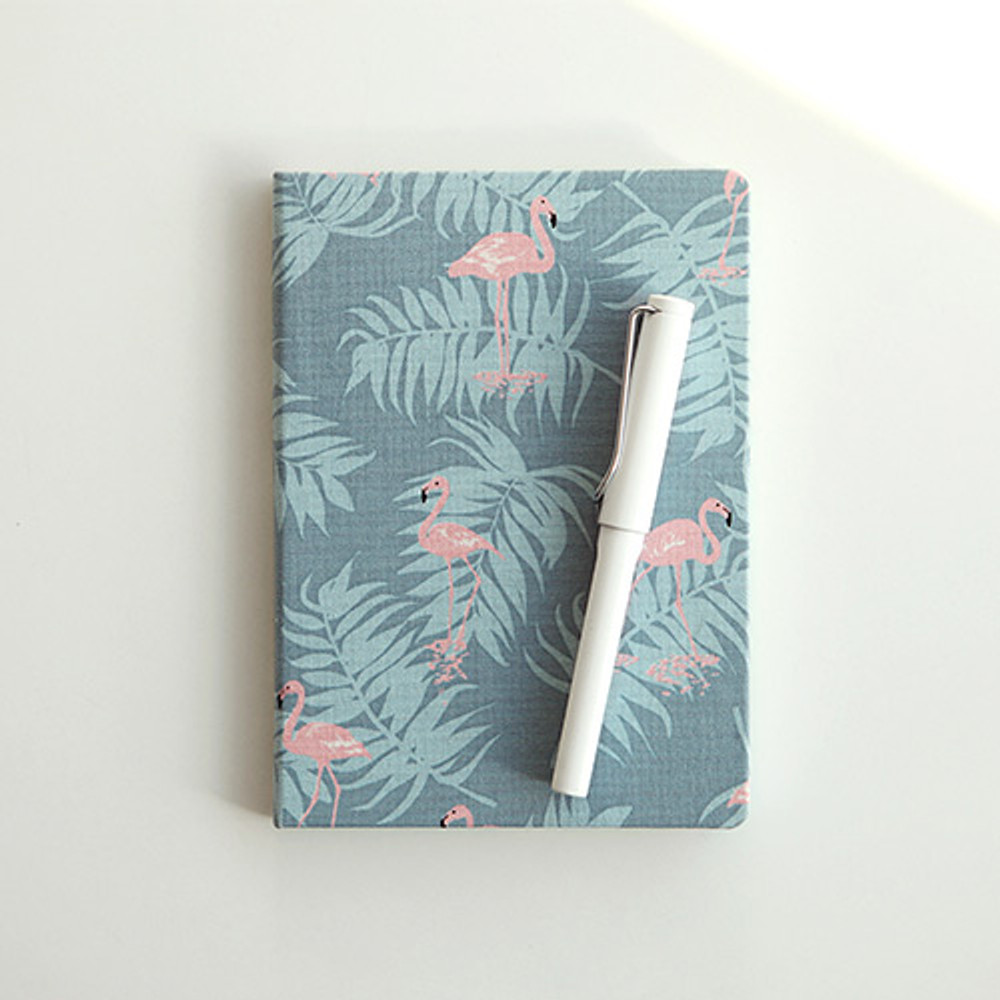 Flamingo - pattern fabric cover plain notebook