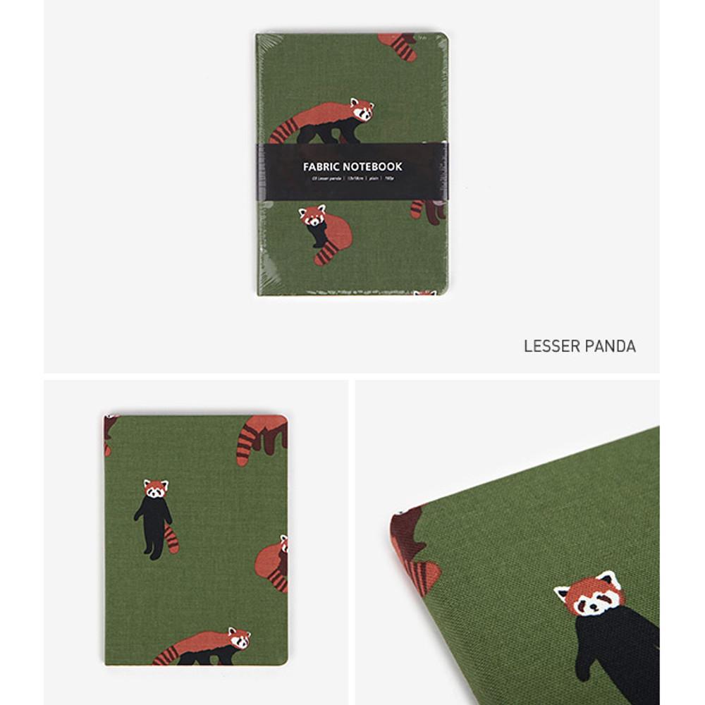 Lesser panda - pattern fabric cover plain notebook