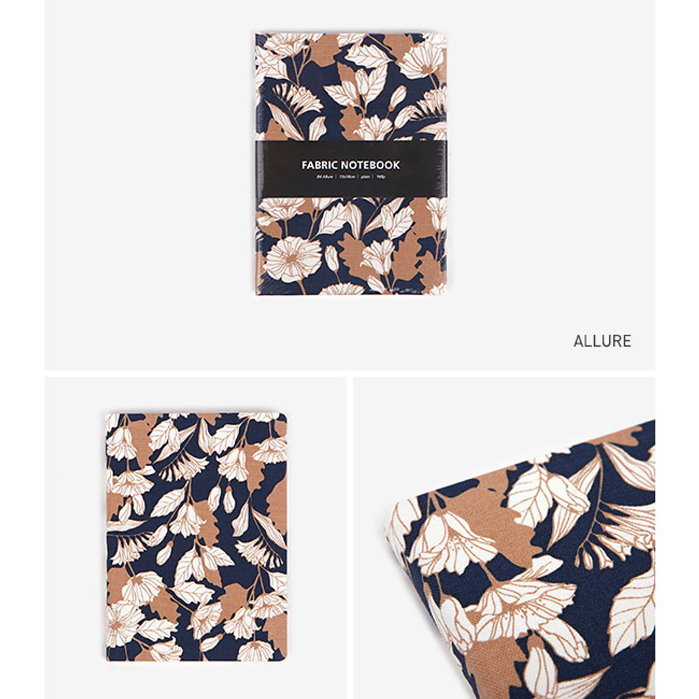 Allure - pattern fabric cover plain notebook