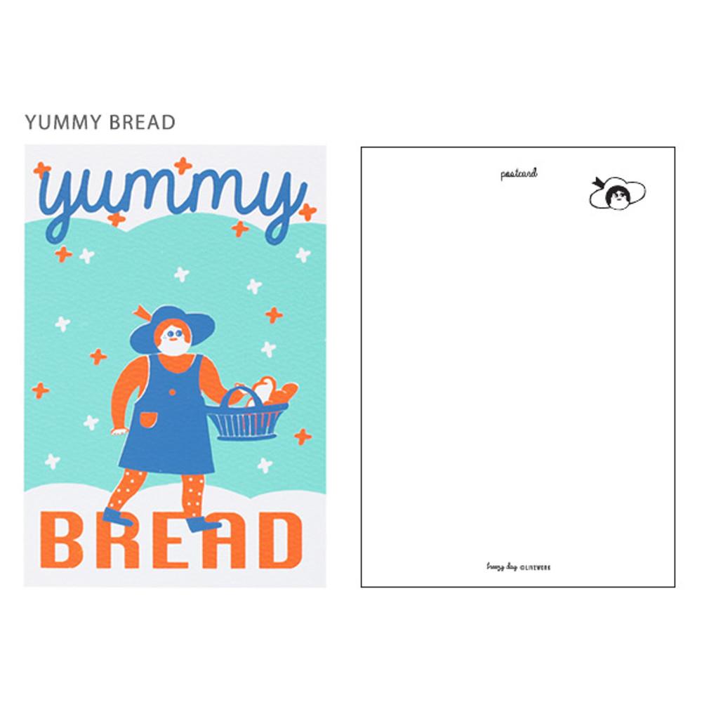 Yummy bread - Breezy day silk screen postcard