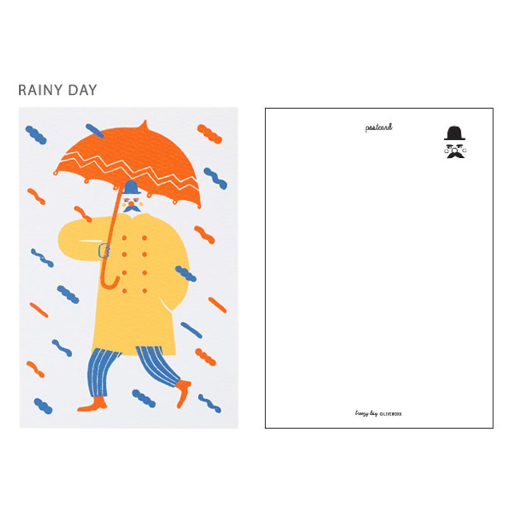 Rainy day - Breezy day silk screen postcard