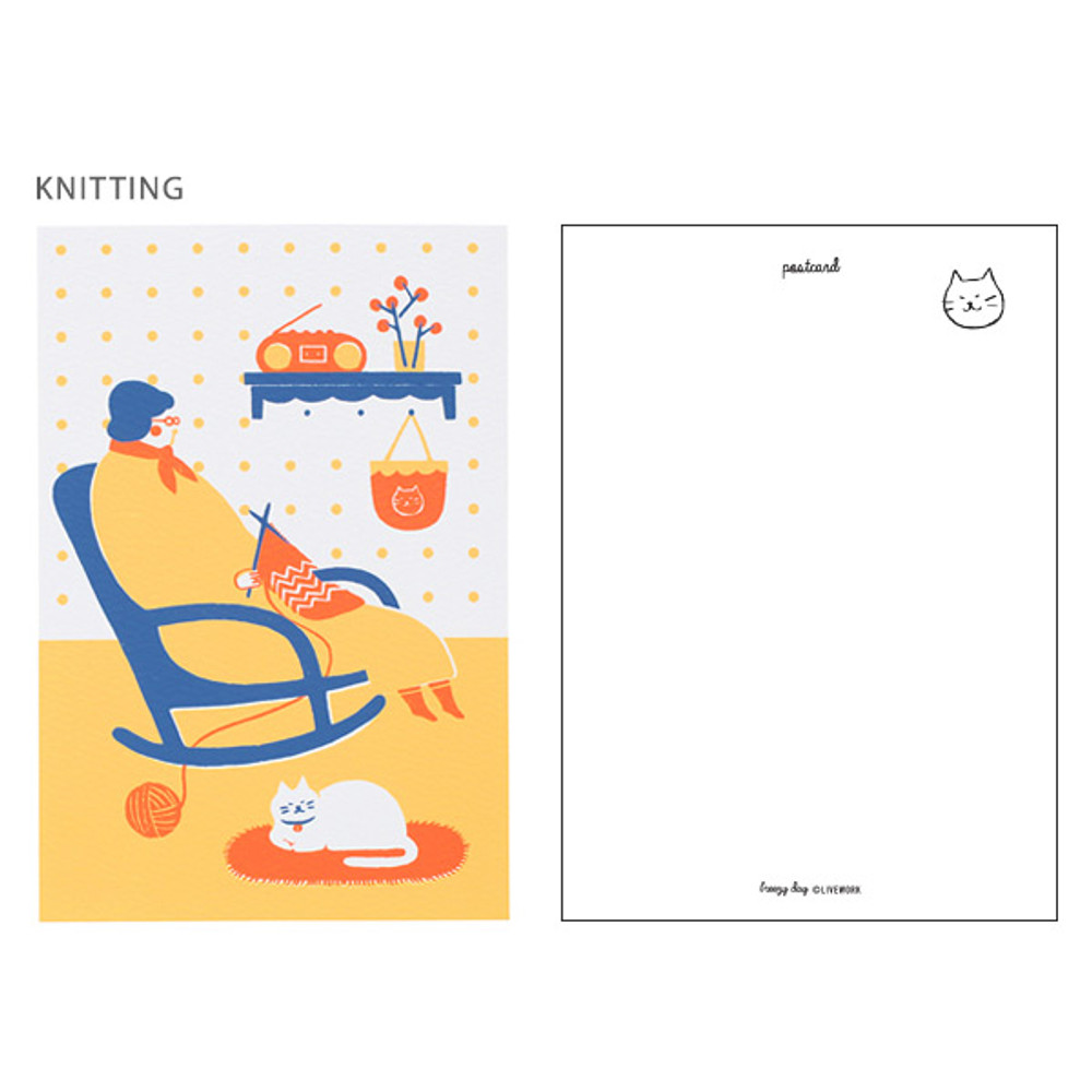 Knitting - Breezy day silk screen postcard