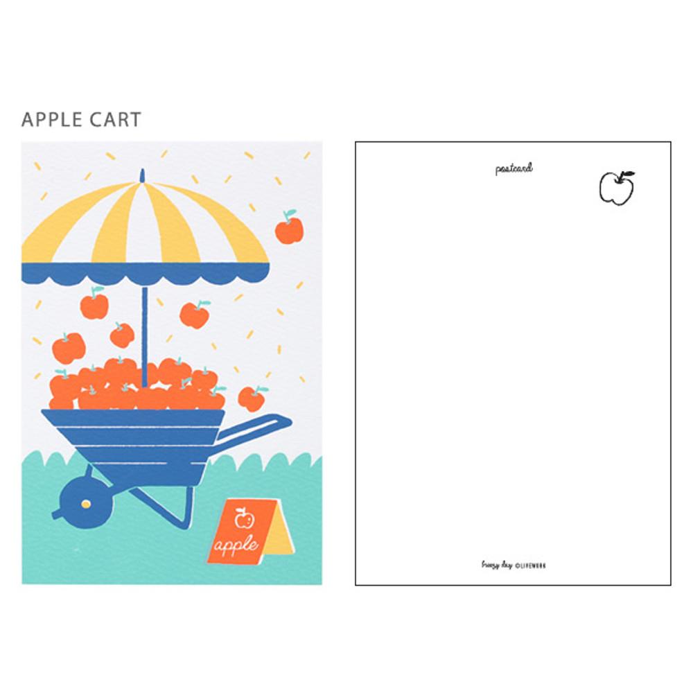 Apple cart - Breezy day silk screen postcard