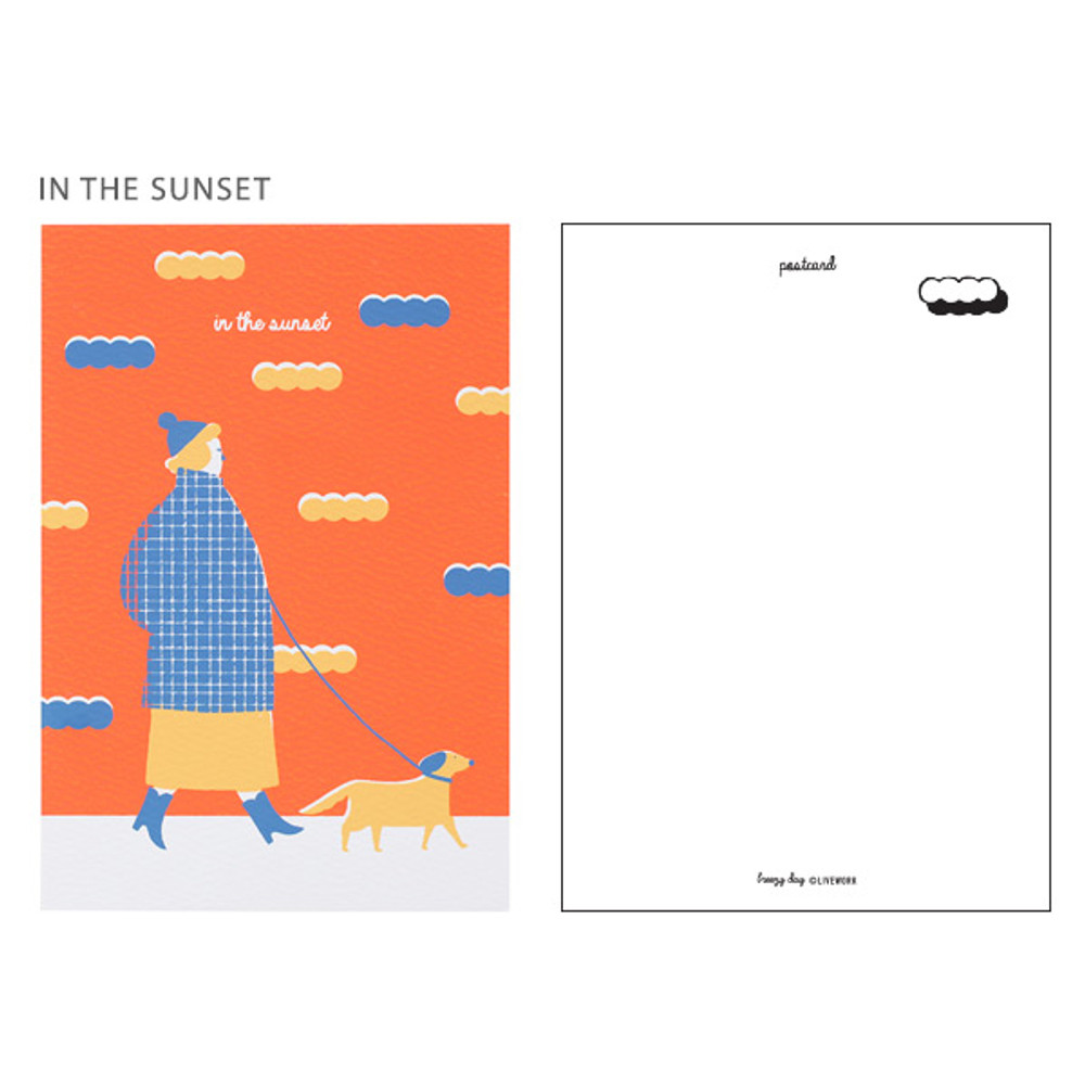 In the sunset - Breezy day silk screen postcard
