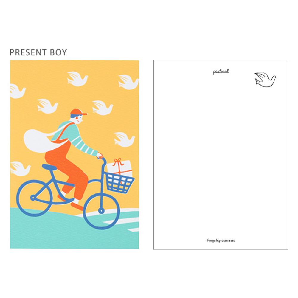 Present boy - Breezy day silk screen postcard