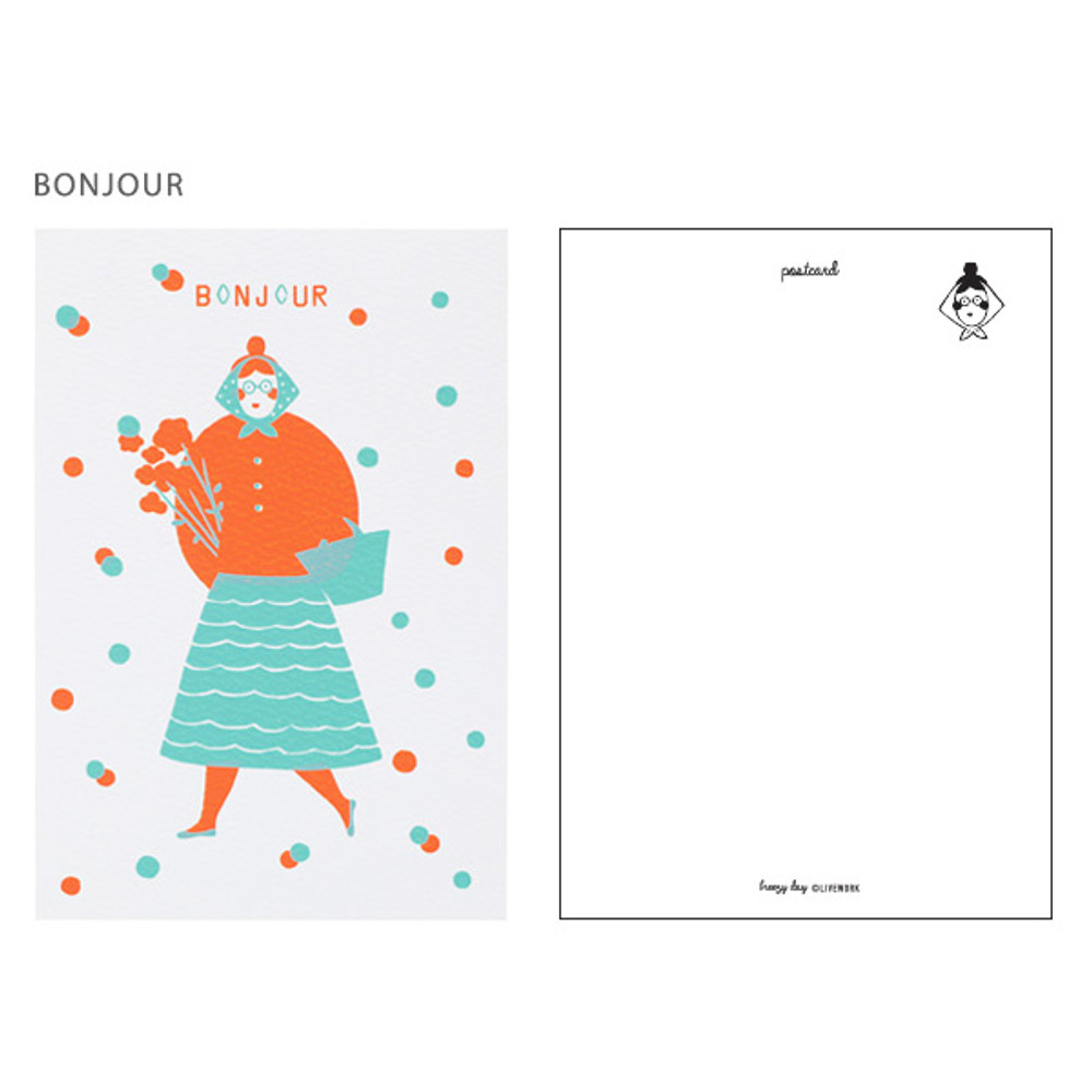 Bonjour - Breezy day silk screen postcard