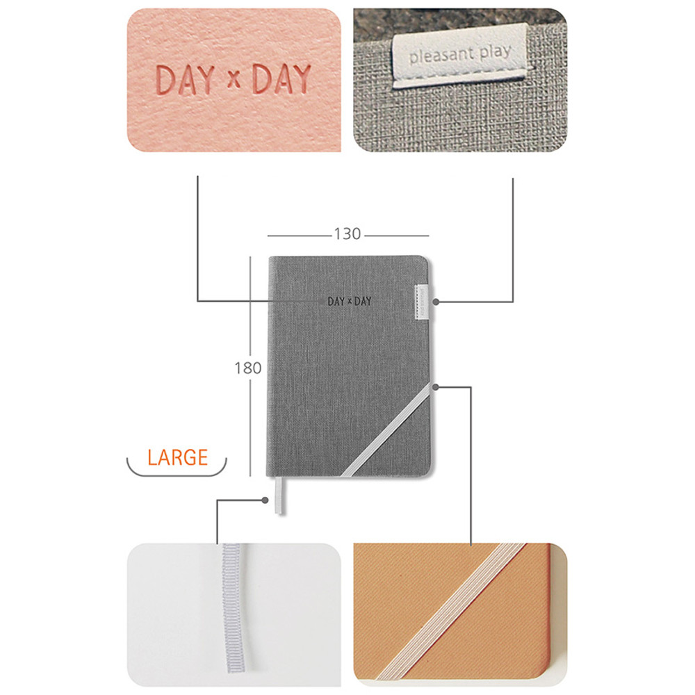 Detail of Day by Day large lined and grid notebook