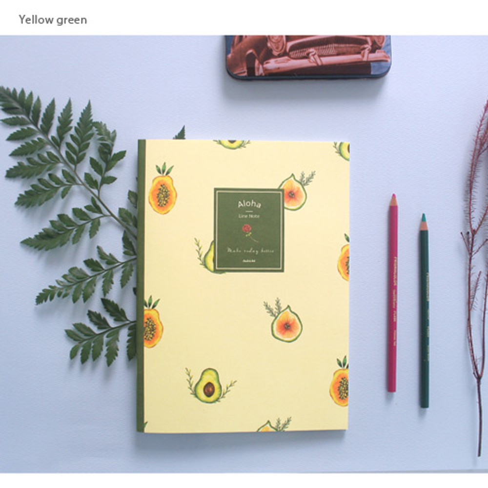 Yellow green - Make today better aloha lined notebook