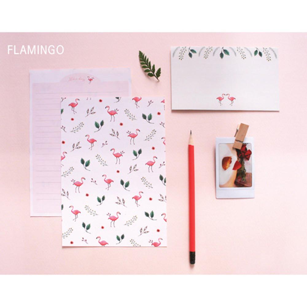 Flamingo - illustration pattern letter paper and envelope set