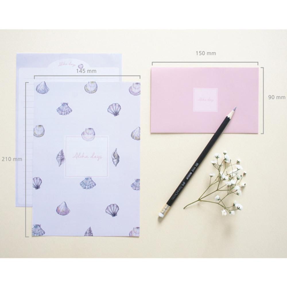 Size of illustration pattern letter paper and envelope set