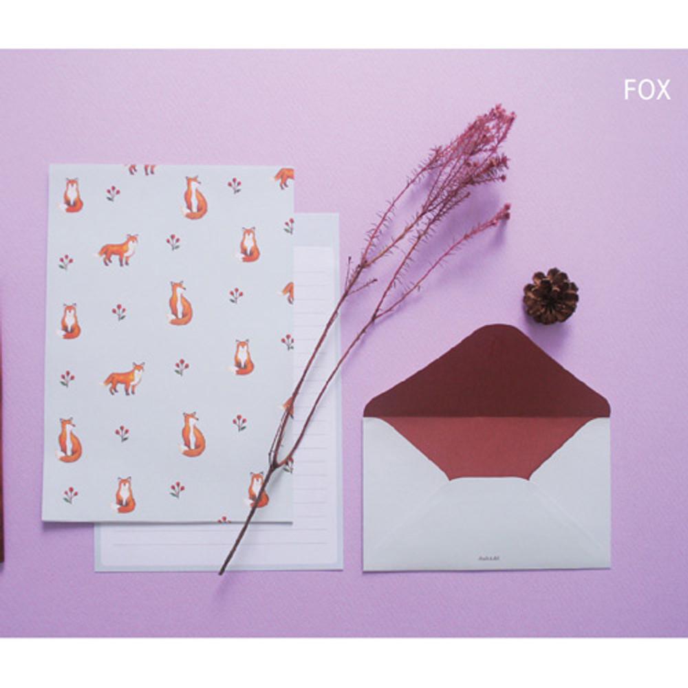 Fox - illustration pattern letter paper and envelope set
