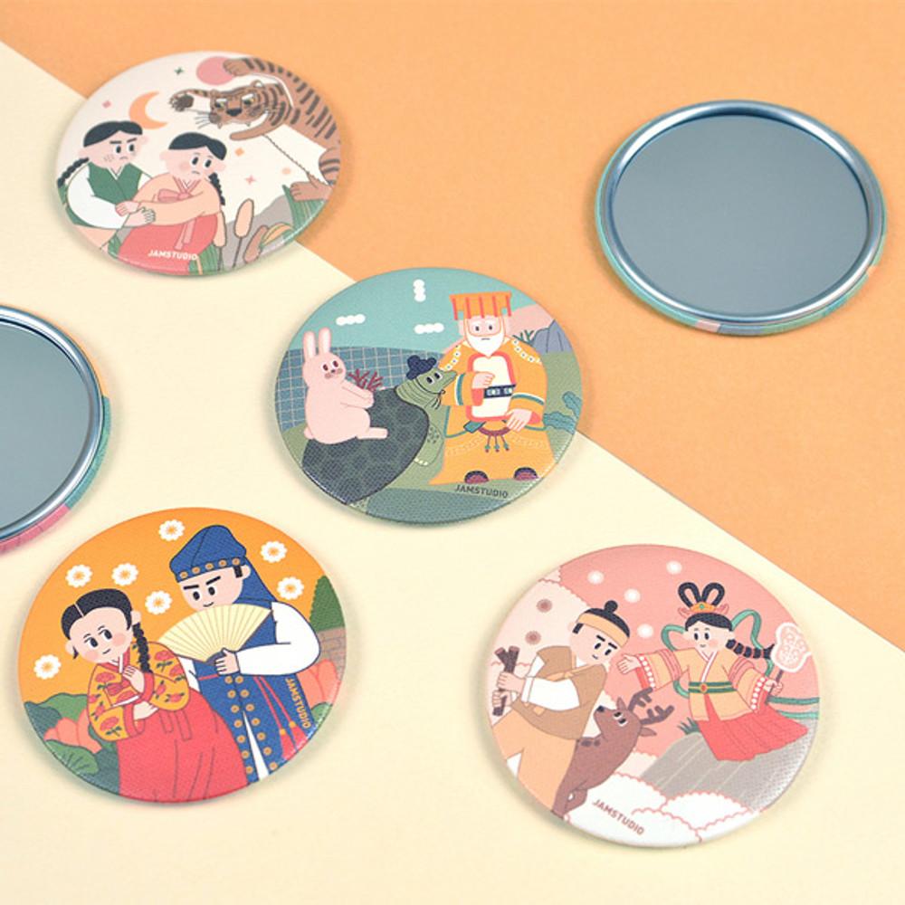 Korean fable pocket round handy mirror