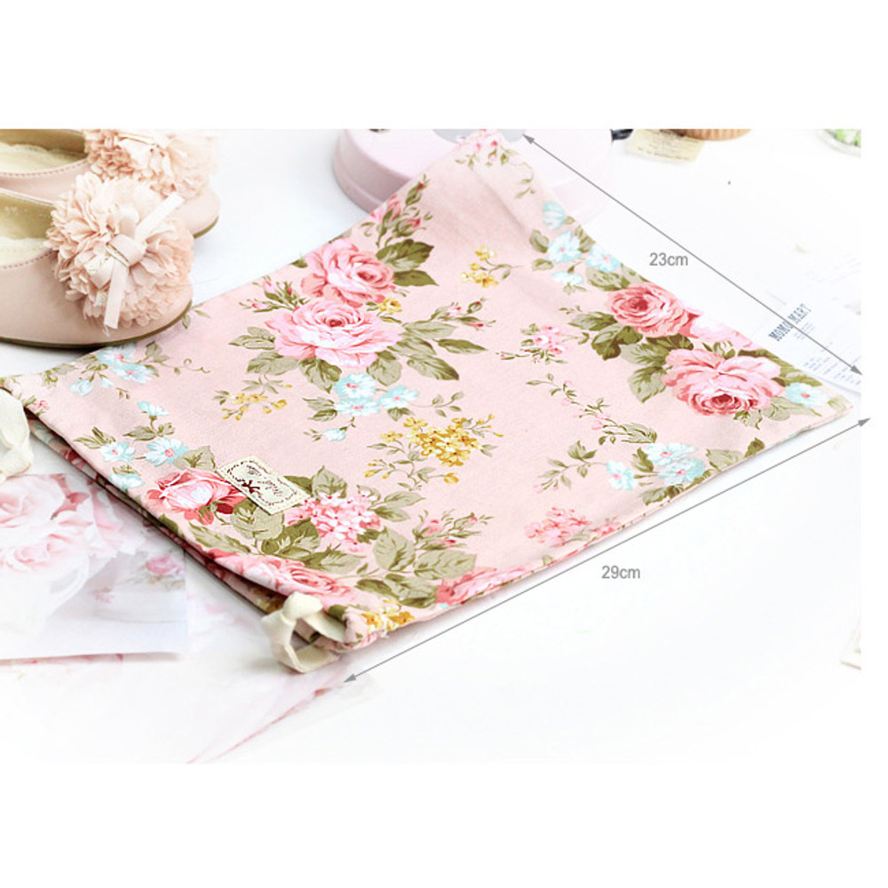 Size of Vintage flower pattern cotton drawstring pouch