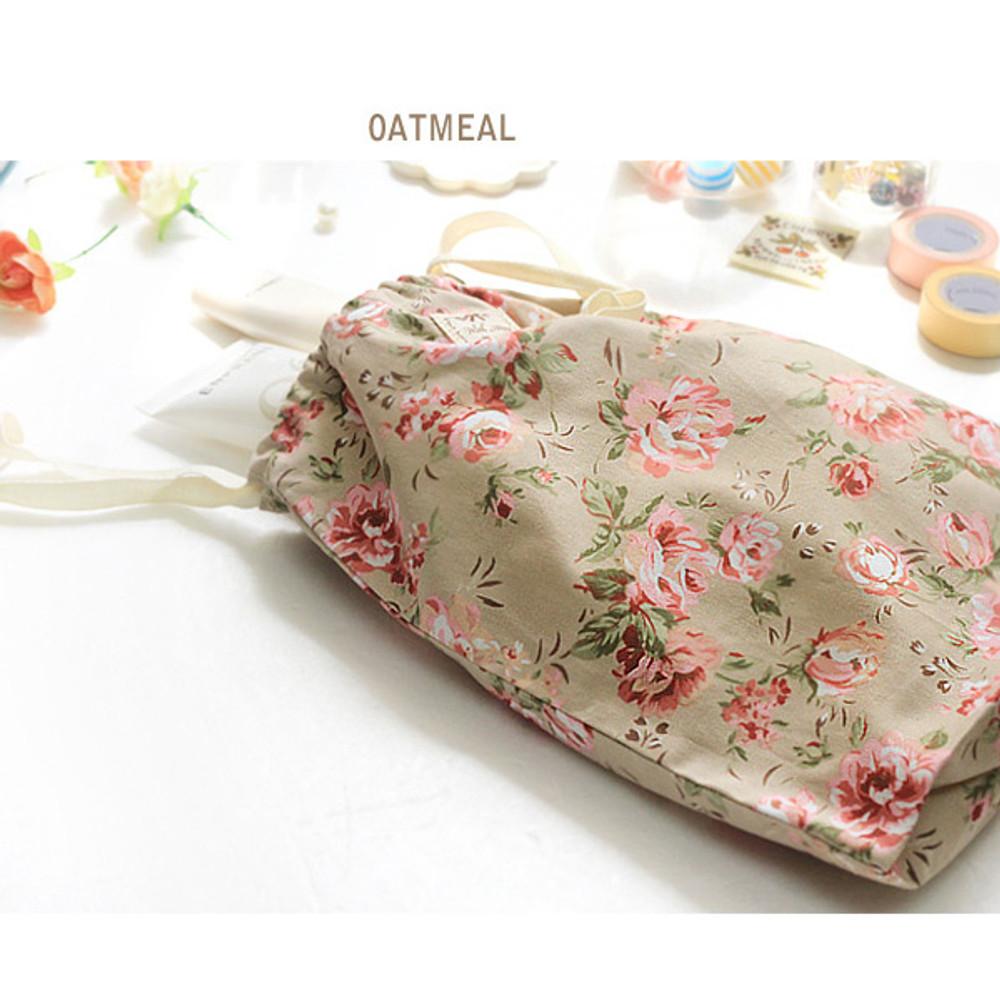 Oatmeal - Vintage flower pattern cotton drawstring pouch