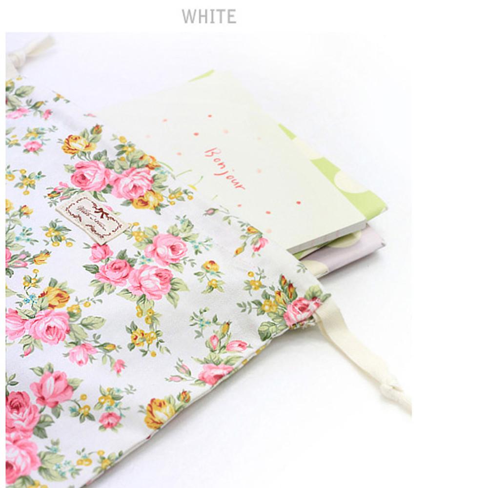 White - Vintage flower pattern cotton drawstring pouch