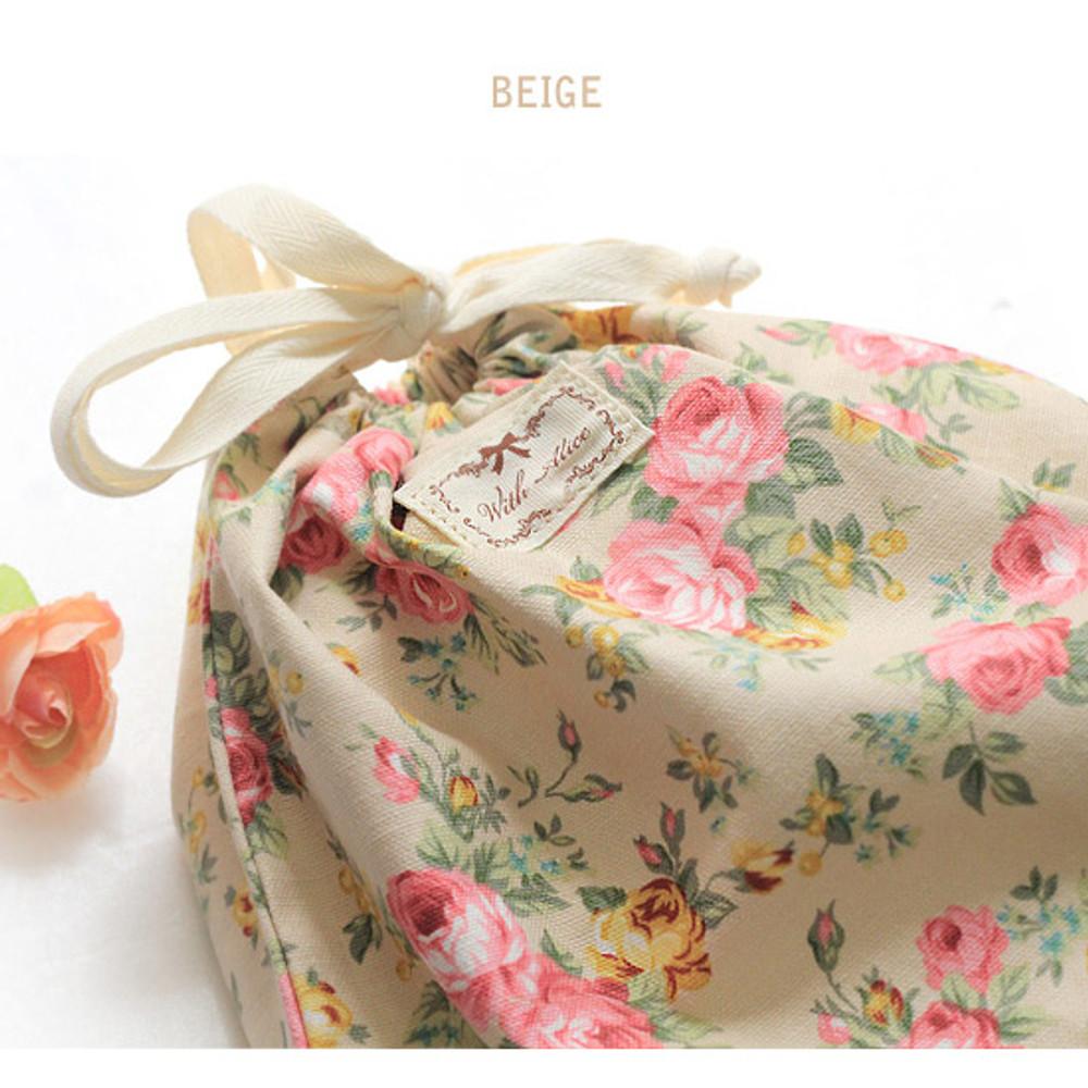 Beige - Vintage flower pattern cotton drawstring pouch