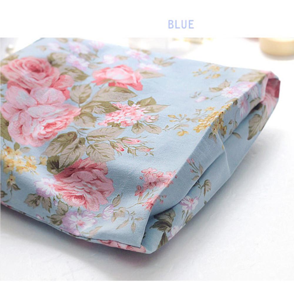 Blue - Vintage flower pattern cotton drawstring pouch