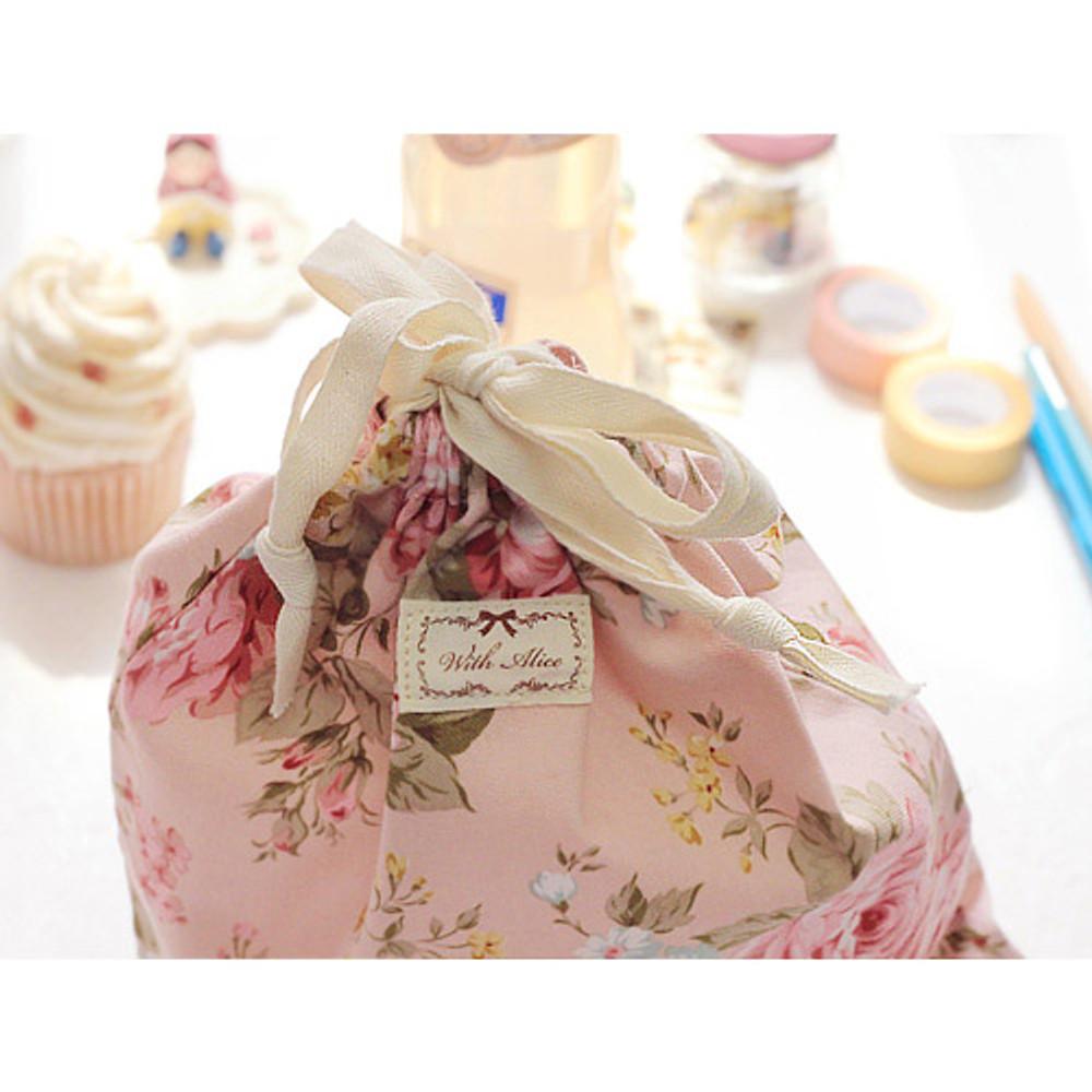 Vintage flower pattern cotton drawstring pouch