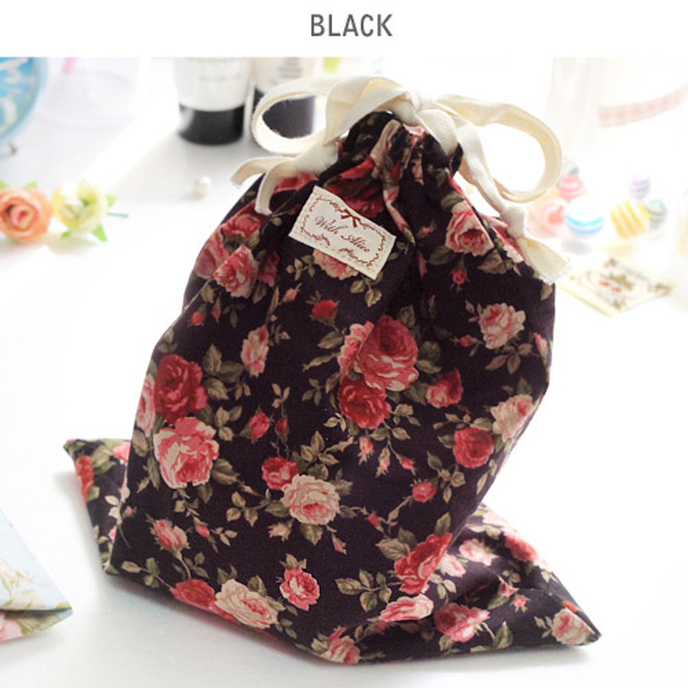 Black - Vintage flower pattern cotton drawstring pouch