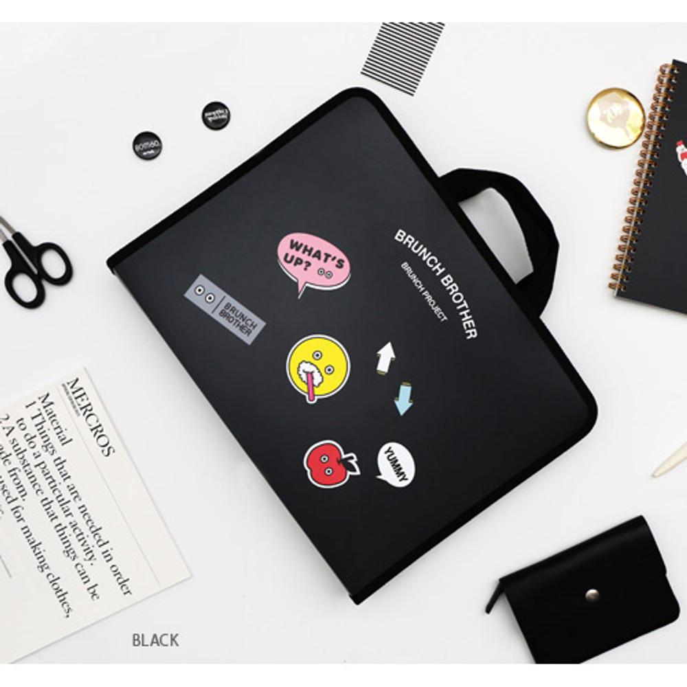 Black - Brunch brother zip around file pouch bag