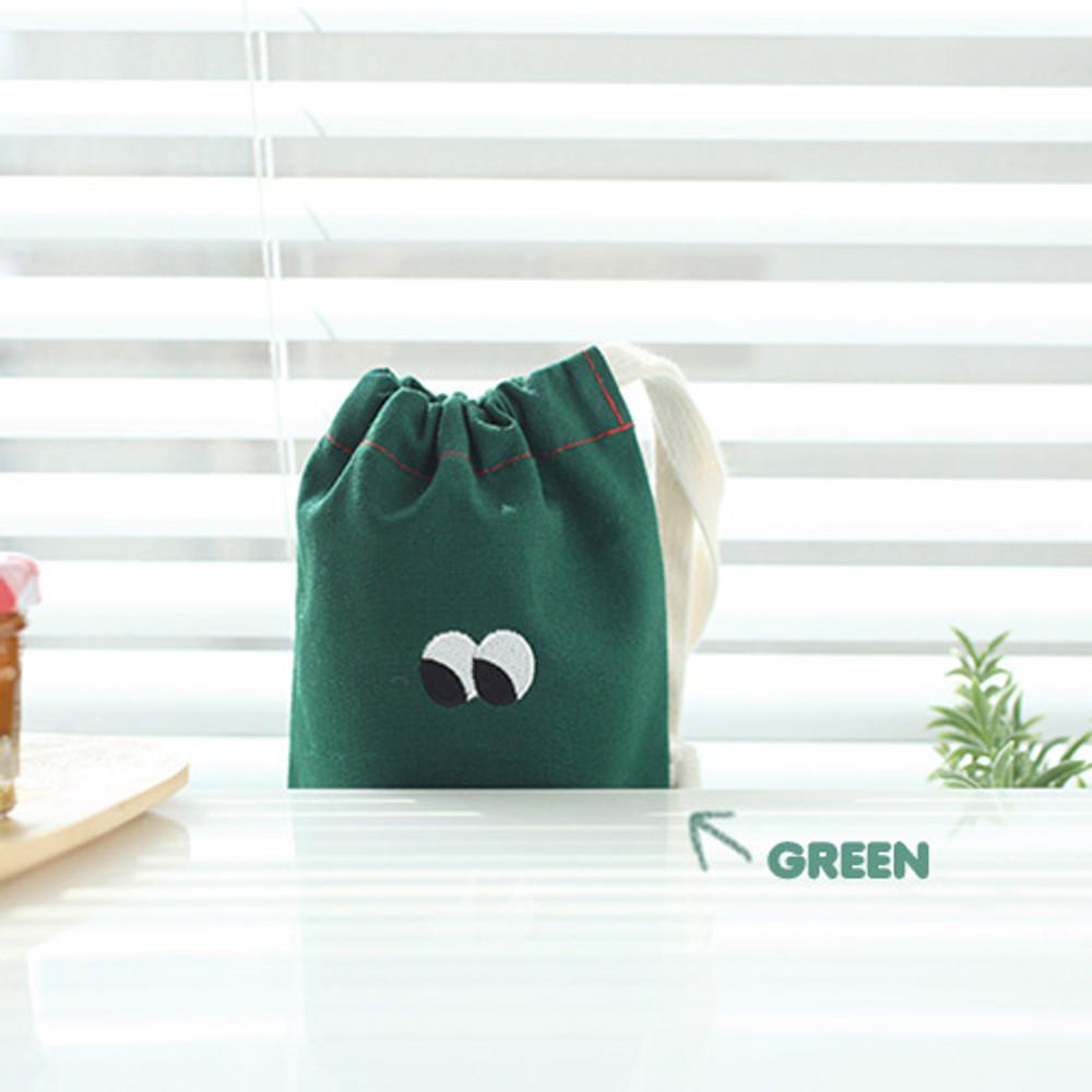 Green - Som Som cotton drawstring pouch