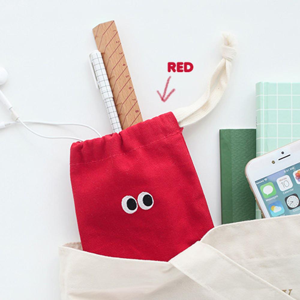 Red - Som Som cotton drawstring pouch