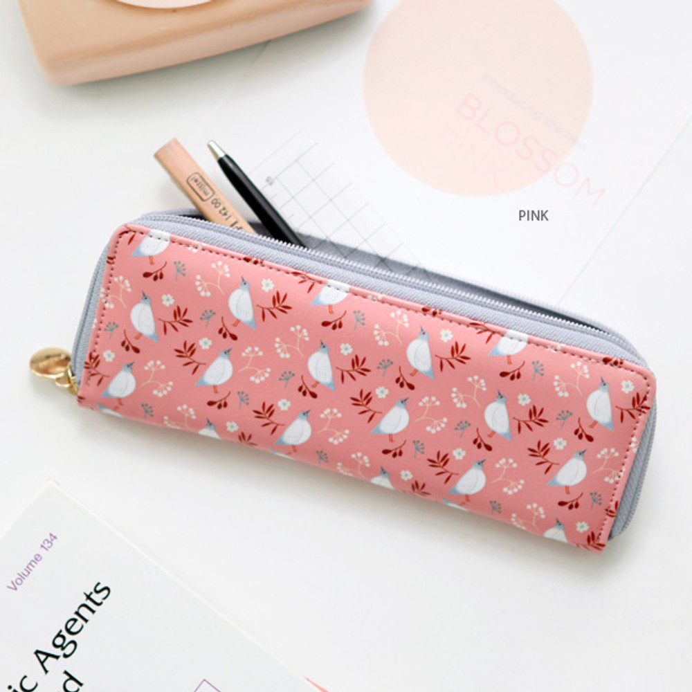 Pink - Willow pattern classic slim pencil case