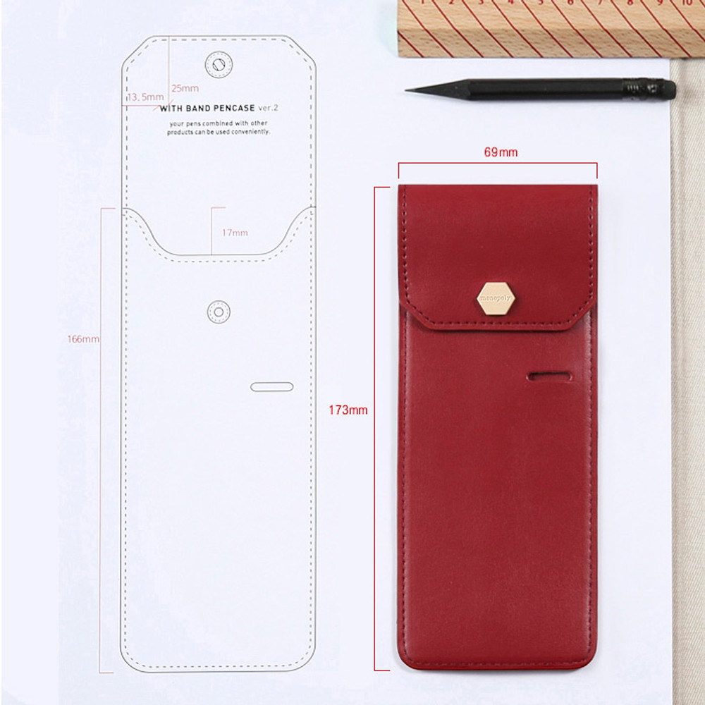 Size of Snap button pen case with elastic band holder