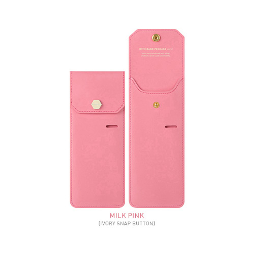 Milk pink - Snap button pen case with elastic band holder