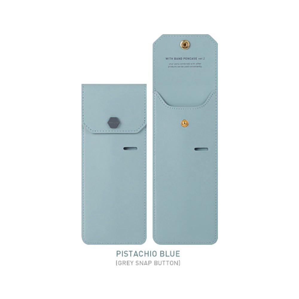 Pistachio blue - Snap button pen case with elastic band holder