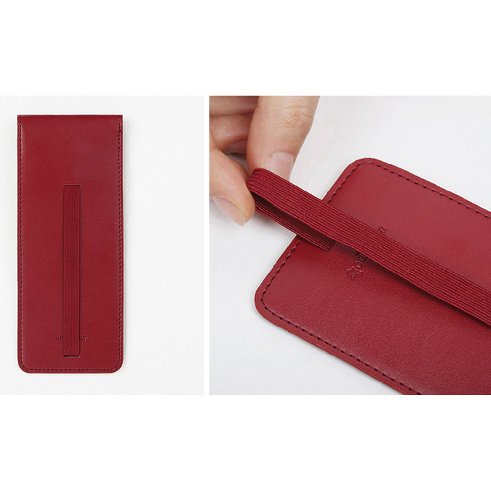 Detail of Snap button pen case with elastic band holder