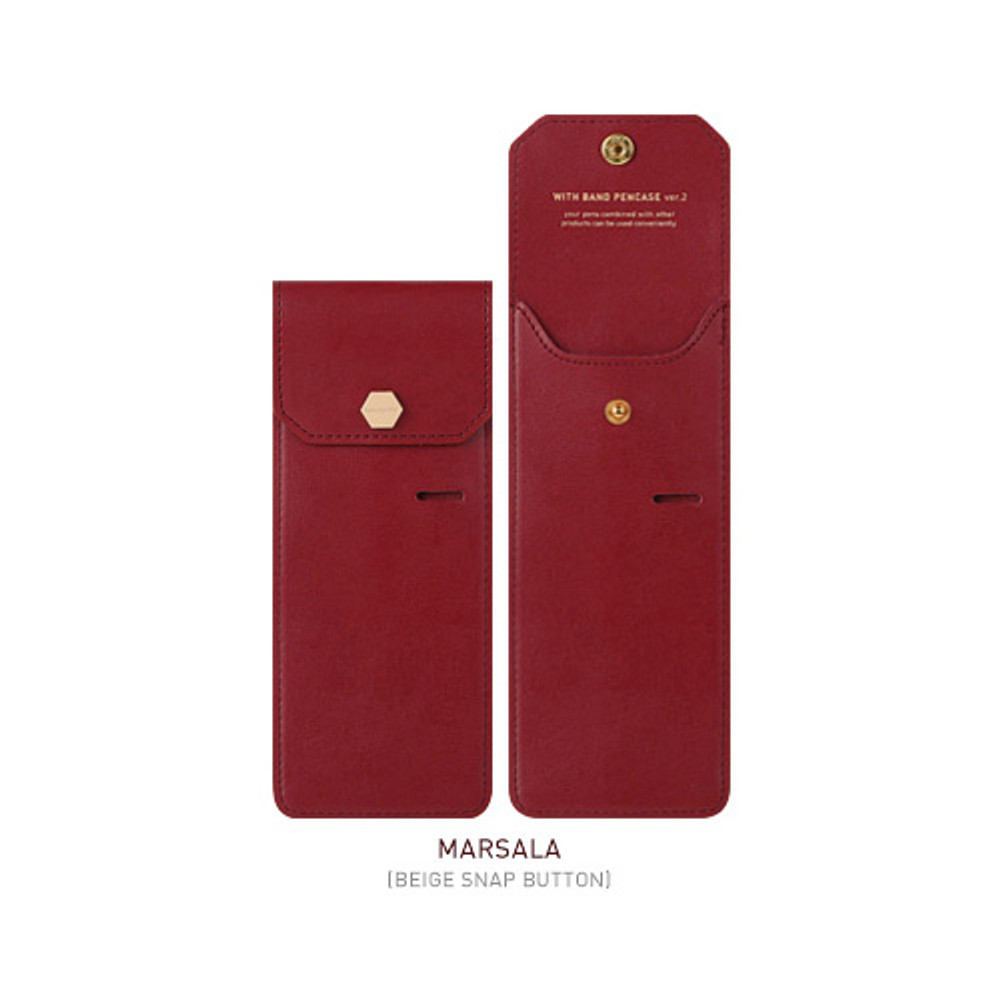 Marsala - Snap button pen case with elastic band holder