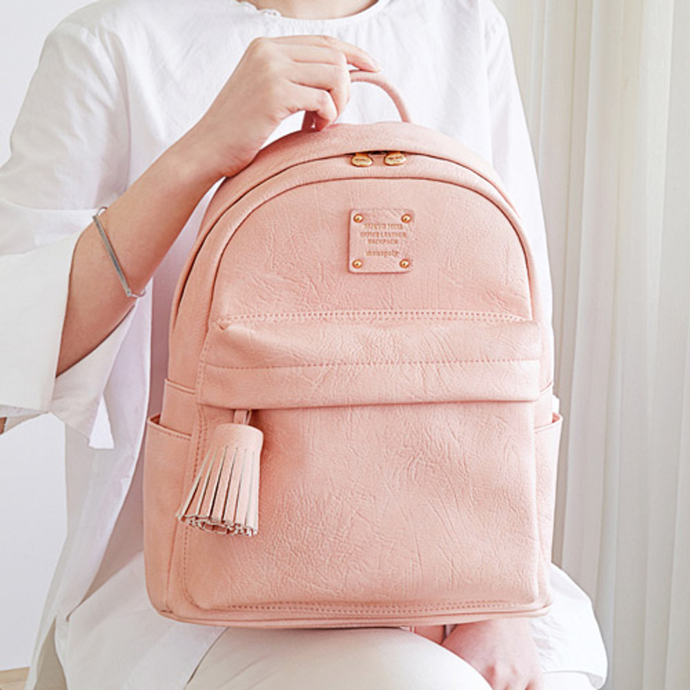 Baby pink - Nuevo mini office leather backpack with tassel