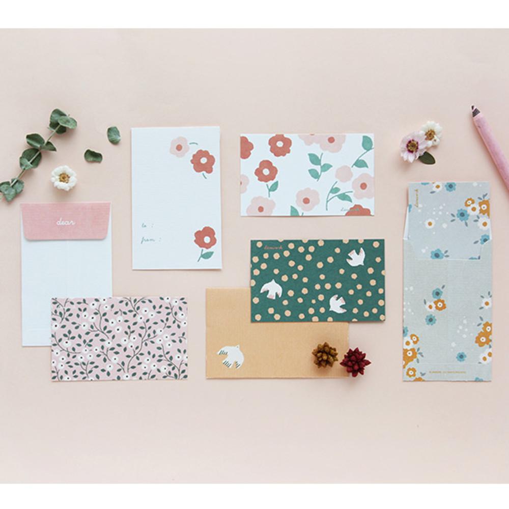 Cute illustration message card set