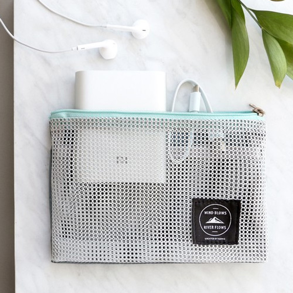 Gray - Window blows small mesh zipper pouch