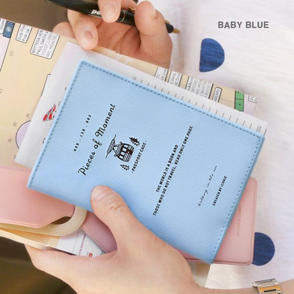 Baby blue - Piece of moment RFID blocking travel passport case
