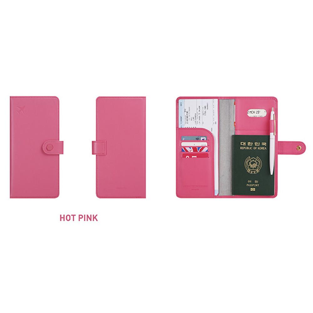 Hot pink - Travel RFID blocking long passport case