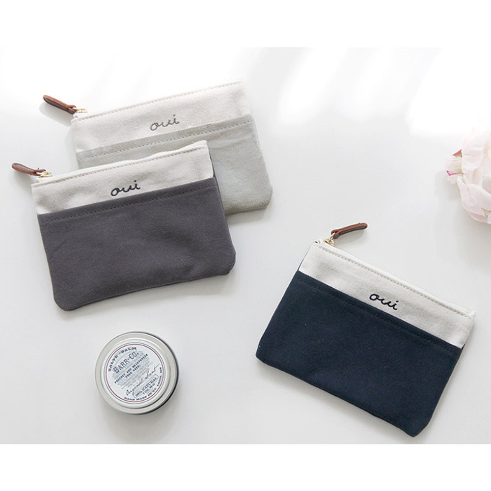 Around'D pocket zipper small pouch