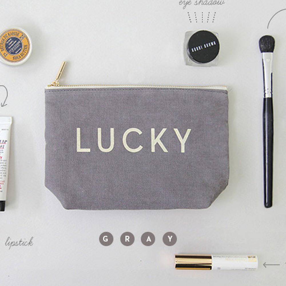 Gray - Around'D lucky zipper pouch