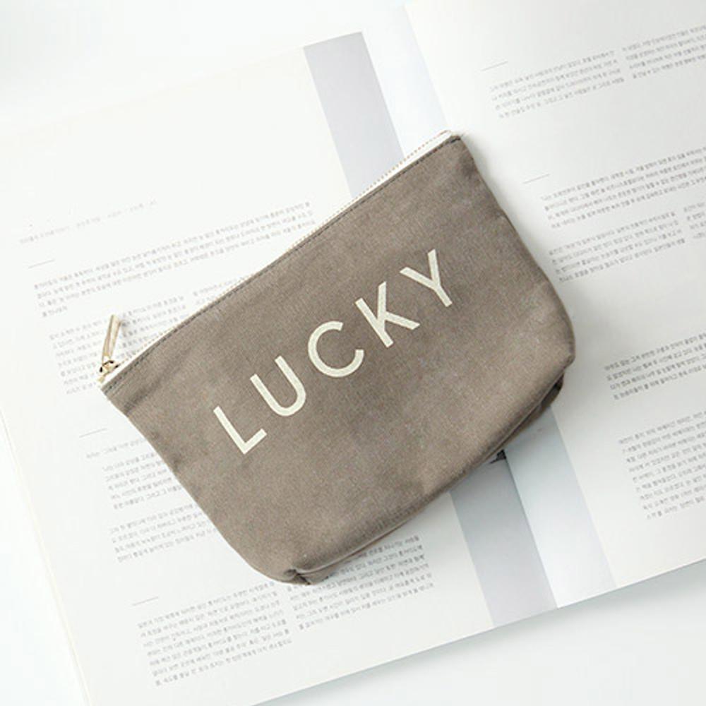 Khaki - Around'D lucky zipper pouch