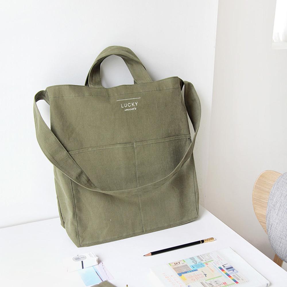 Khaki - Around'D lucky shoulder bag tote