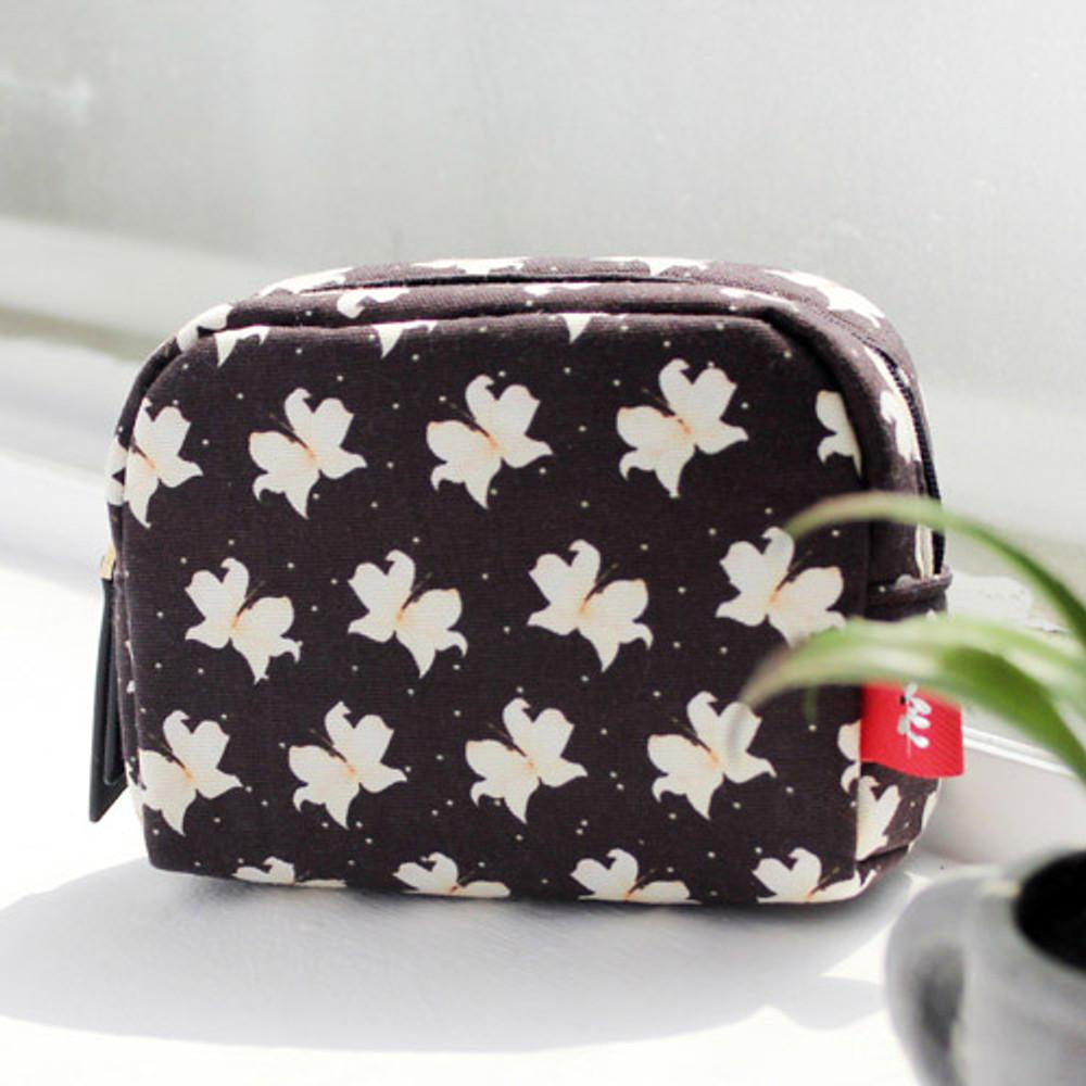 Lily - Rim pattern cotton zipper small pouch