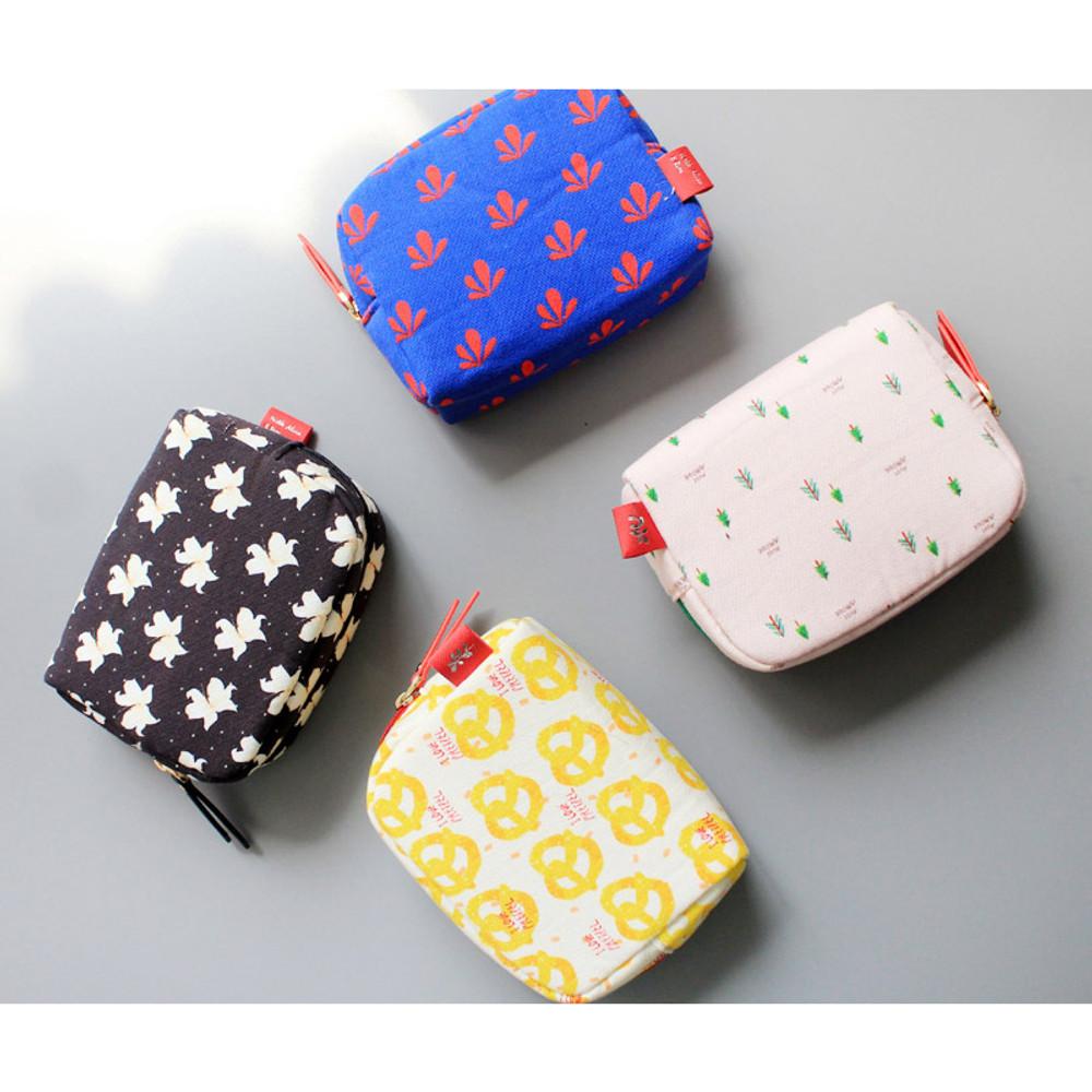 Rim pattern cotton zipper small pouch