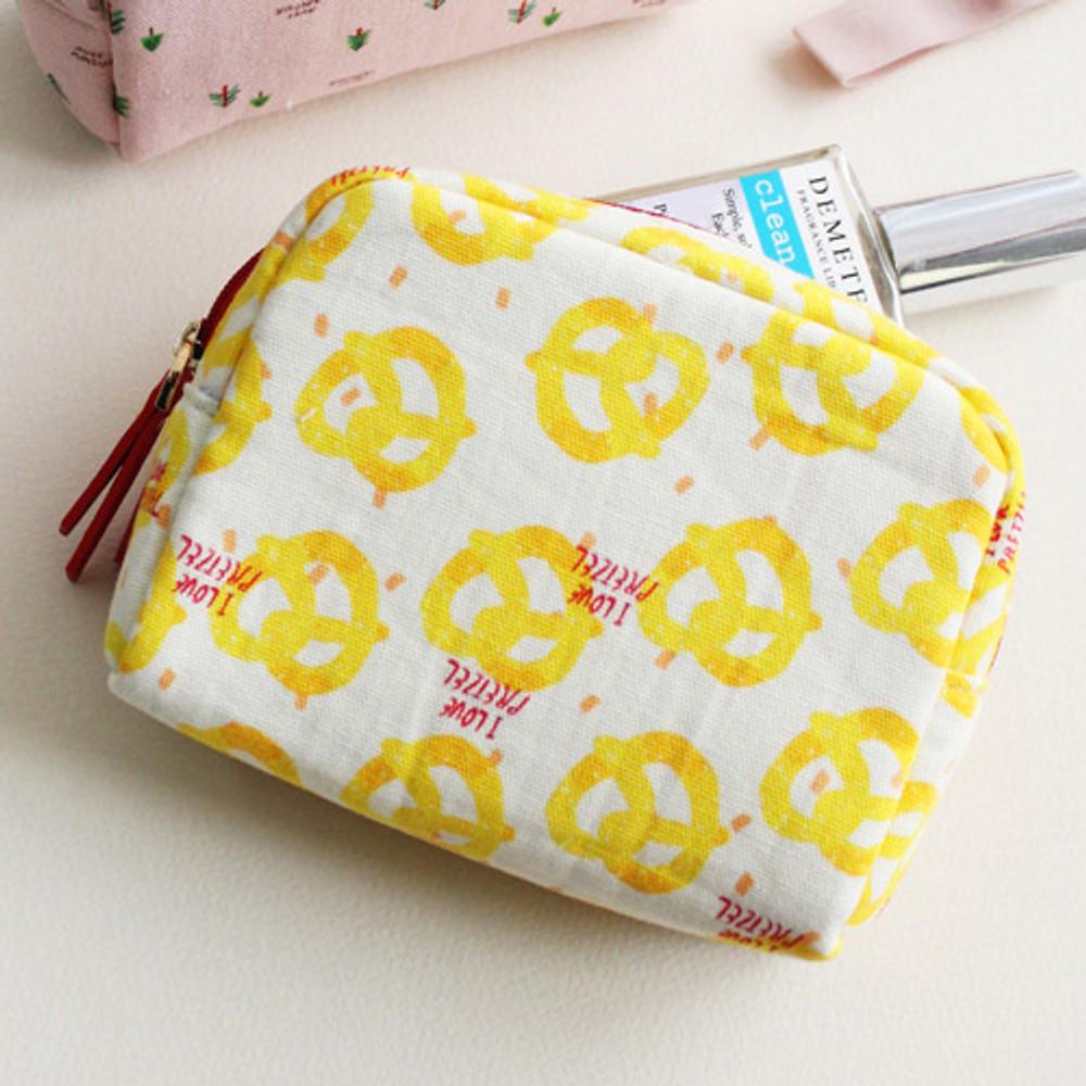 Pretzel - Rim pattern cotton zipper small pouch