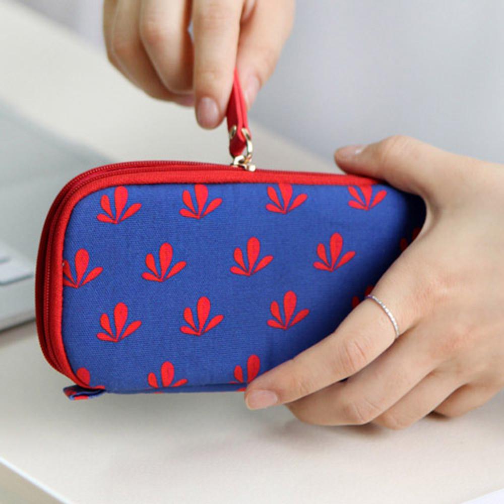 Blue - Rim pattern cotton pen pencil case