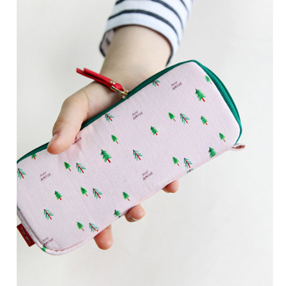 Pink tree - Rim pattern cotton pen pencil case